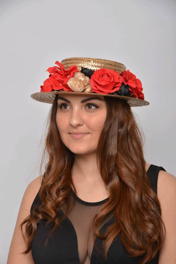 Golden Straw Boater Jane. With a Headdress with Red Black and Golden Flowers