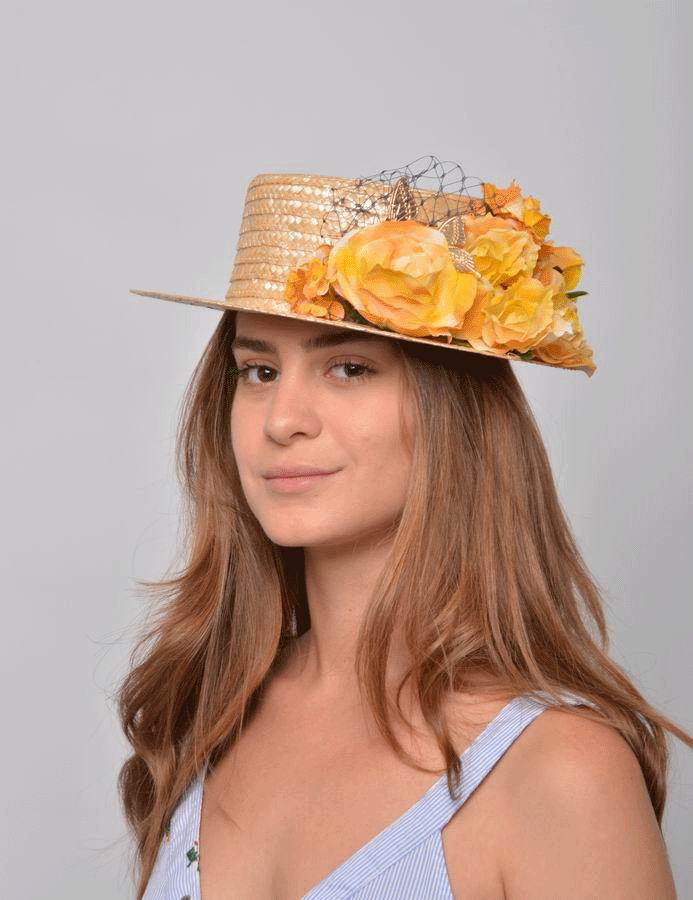 Penelope Straw Boater. Straw Yellow Flowers and Golden Decoration