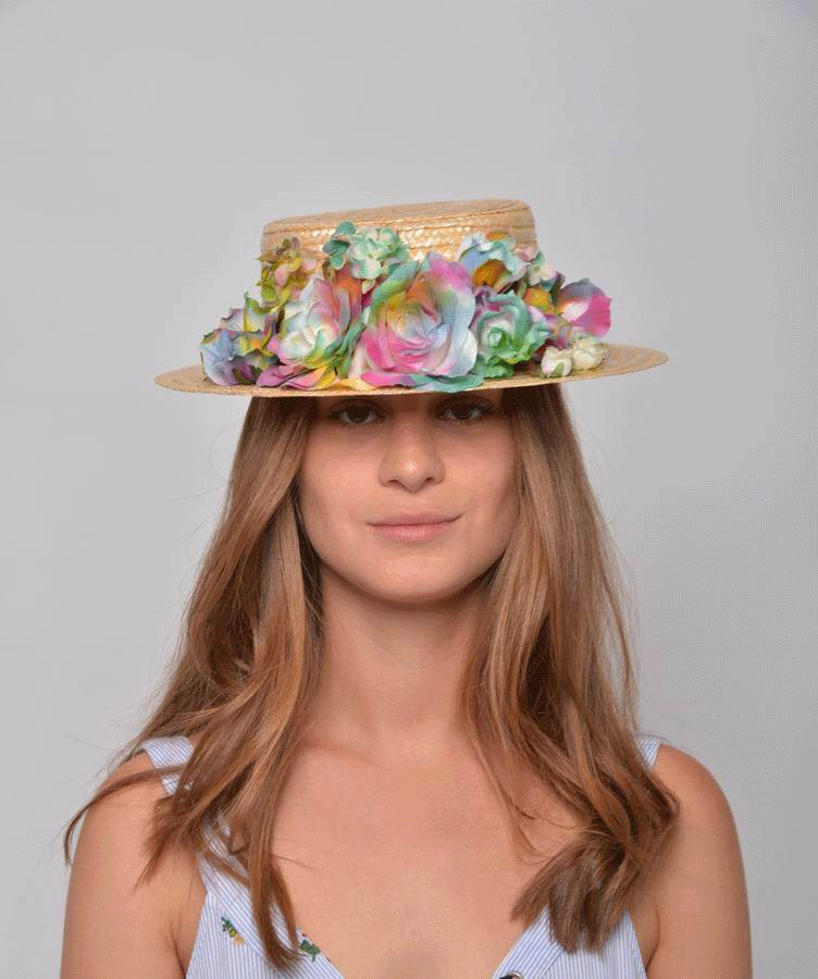 Sara Straw Boater Hat. Straw and Multicolor Flowers Headdress