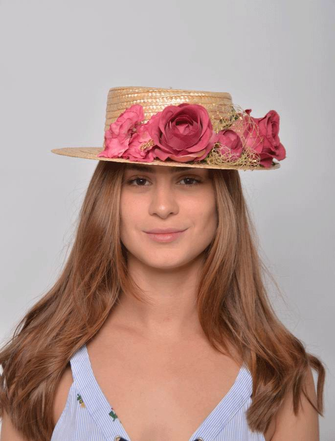 Alba Straw Boater Hat. Straw and Bougainvillea Headdress