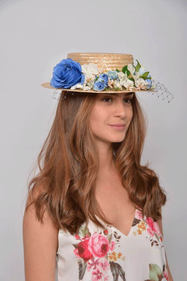 Paola Straw Boater. Straw and Headdress in Blue and Beige
