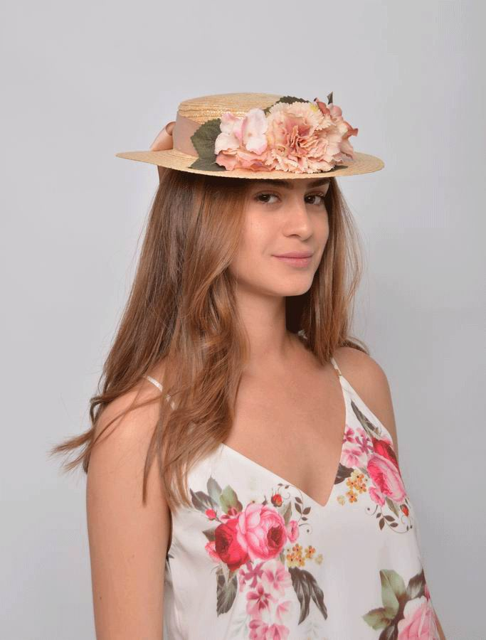 Straw Boater Sasha. Thin Straw with Flowers and a Ribbon