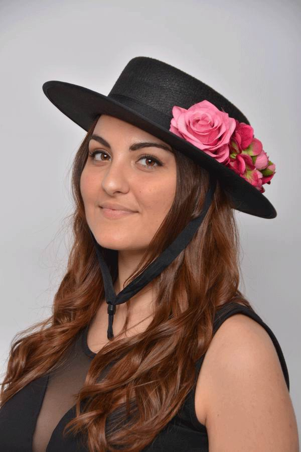 Trinidad Cordobes Hat. Black with Fuschia Flowers