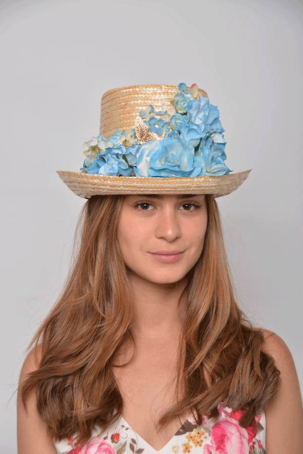 Top Hat Ada. Straw Hat with Flowers in Blue Tones