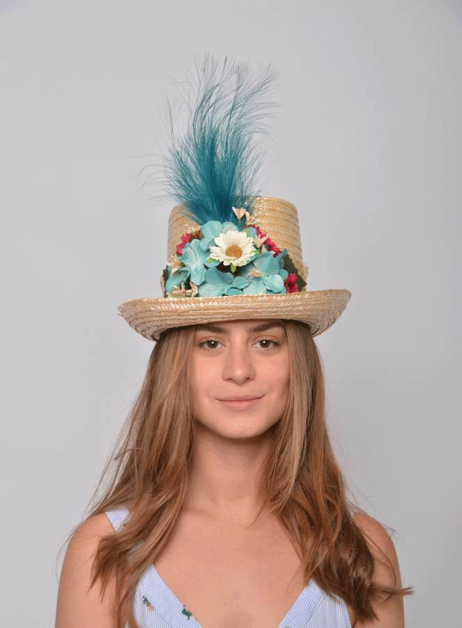 Top Hat Selene. Straw Hat with Green Flowers