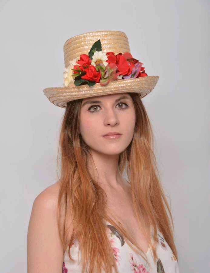 Top Hat Patty. Headdress made of Straw and Flowers