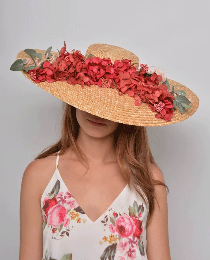 Straw Floppy Hat Marta with Preserved Flowers