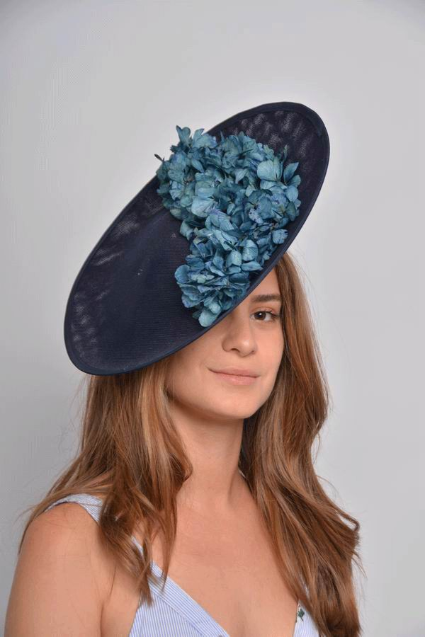 Floppy Hat Aitana. Blue Sinamay with Blue Flowers
