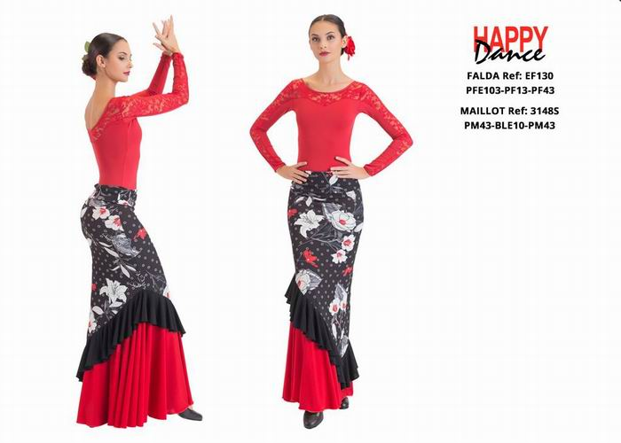 Happy Dance. Woman Flamenco Skirts for Rehearsal and Stage. Ref. EF130-PFE103-PF13-PF43