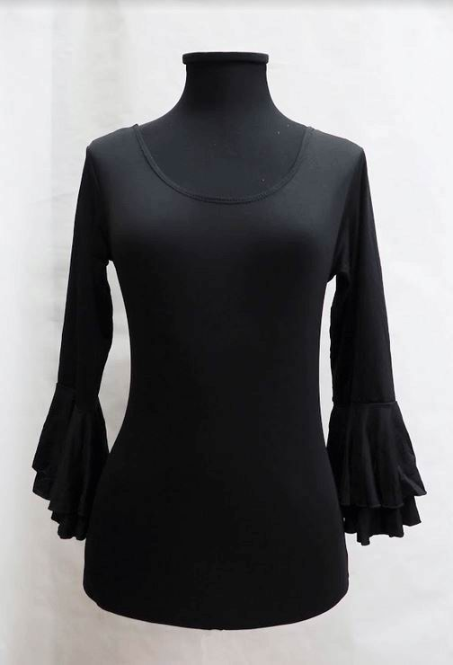 Economical Long-Sleeved Black Leotard with Ruffle for Adults