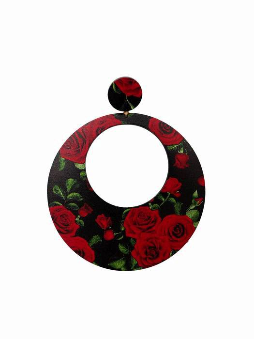 Flamenca Maxi hoop Earrings with Red Roses