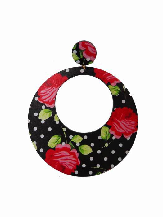 Super Large Flamenco Hoop Earrings in Black with Red Roses and White Polka Dot