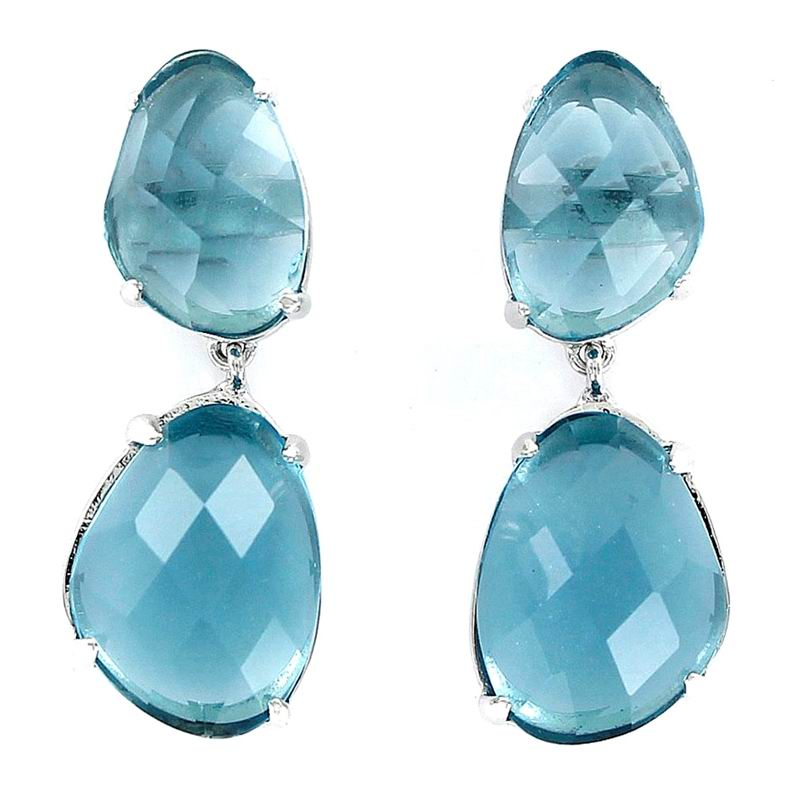 Silver Earrings with Two Irregular Aquamarine Stones