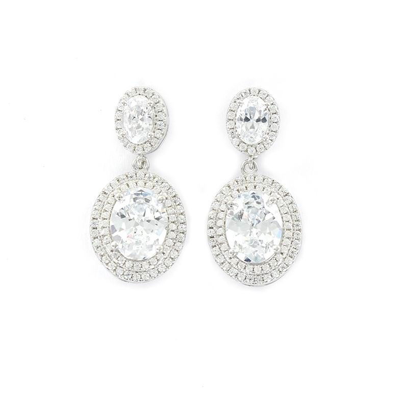 Zirconia Earrings, Oval Shaped, Facetted and Beveled