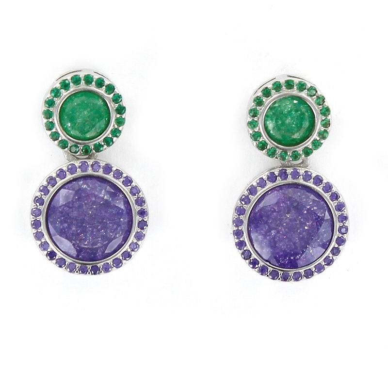 Rhodium Silver Earrings Double Disc Purple and Green Stones Faceted Center with Bevel