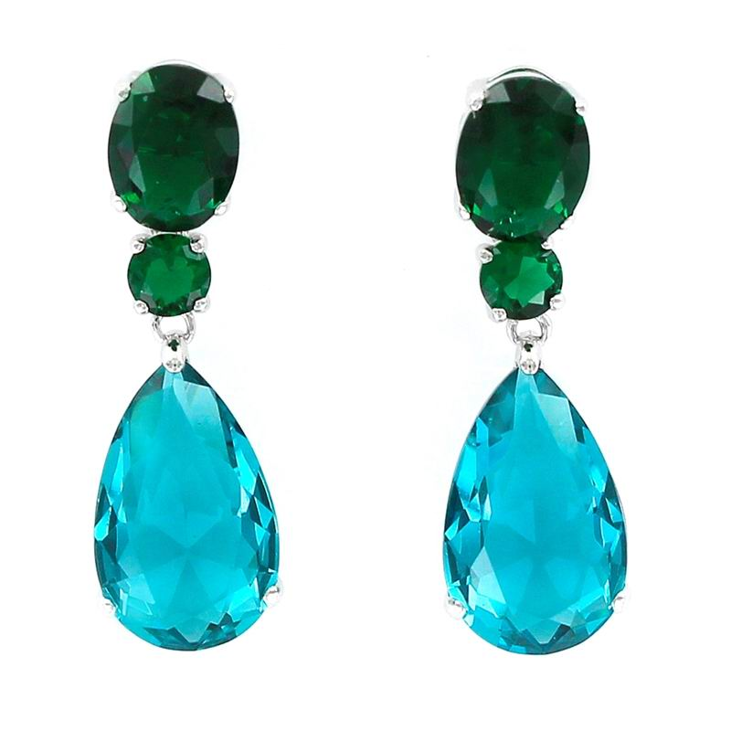 Long Earrings in Aquamarine Drop-Shaped and Green Faceted Stone with Claws
