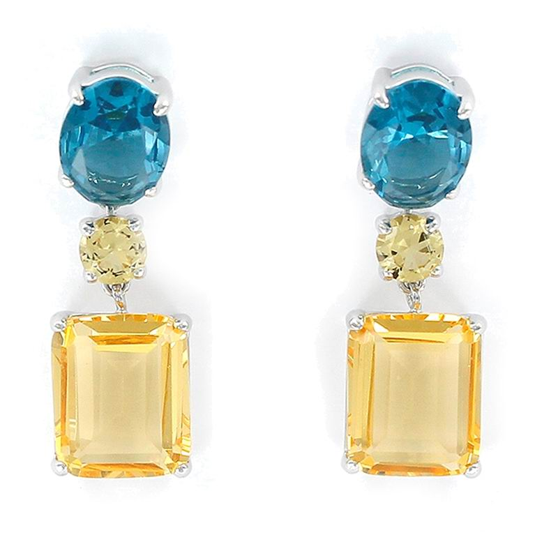 Earrings with a Yellow Rectangular Stone and an Aquamarine Oval Stone