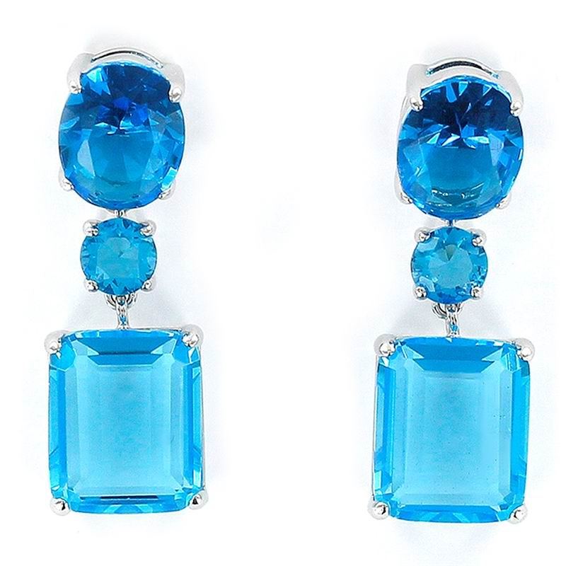 Rectangular Faceted Earrings in Blue with Claws