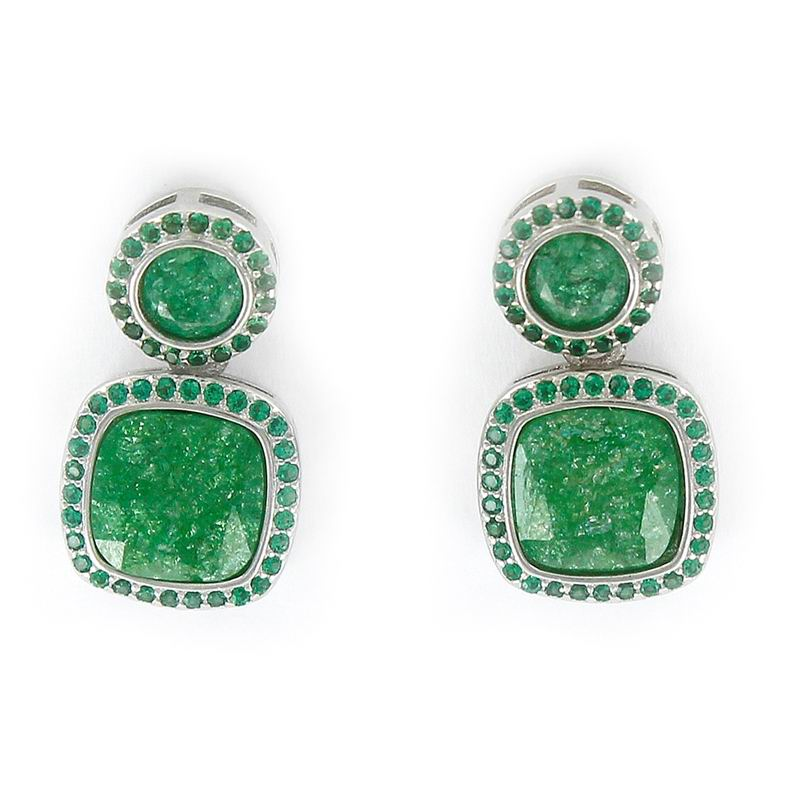 Rhodium Silver Earrings with a Disc and Square in Green