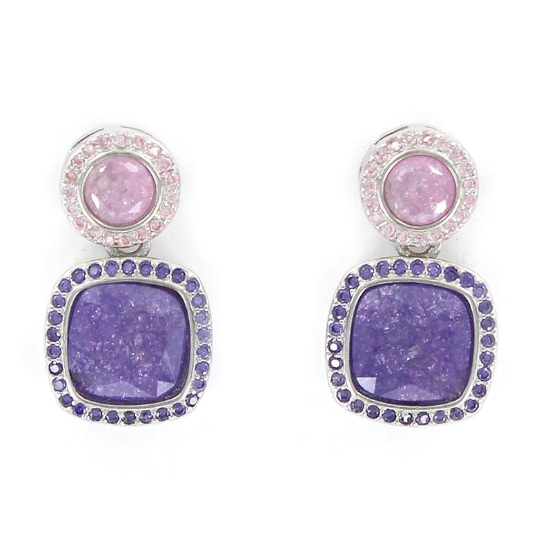 Rhodium Plated Silver Earrings with a Pink Disc Stone and a Purple Square Stone