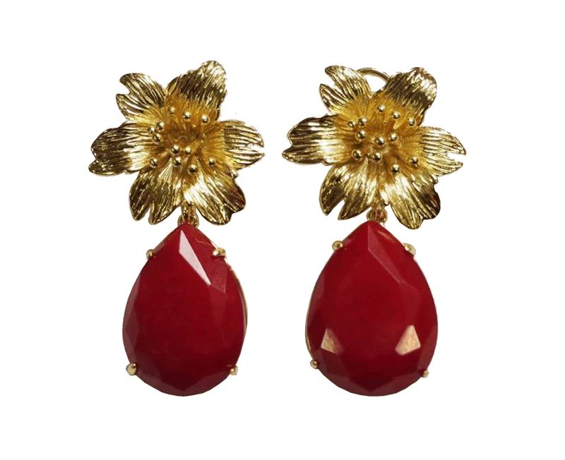 Jewelry Earrings. Golden Flower and Red Stone
