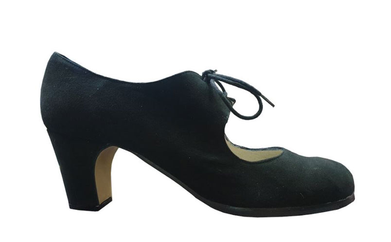 Cordonera Basic Black Suede Flamenco Shoes from Begoña Cervera