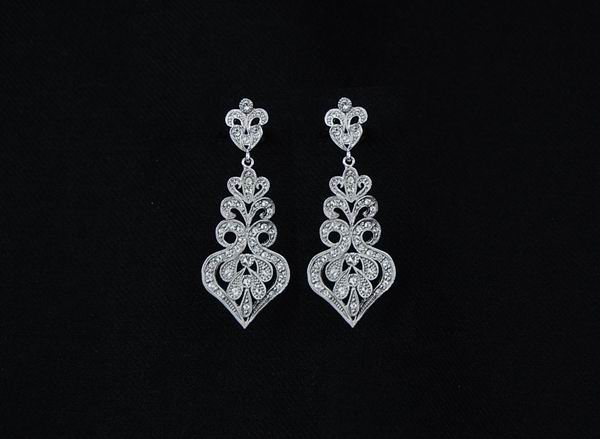 Rhodium Earrings for Bride with Swarovski Crystals ref. 80613