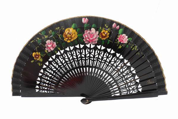 Cheap Black Painted Wood Fan for Events