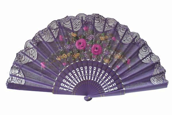 Hand Painted Fan With Purple Lace. ref. 150ENCJ