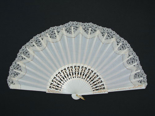 White Wedding Fan with Golden Detail