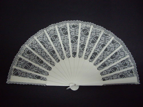 Plain ivory wood fan for bride