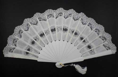 Wood and Silk Lace Fan For Bride. Ref.1434
