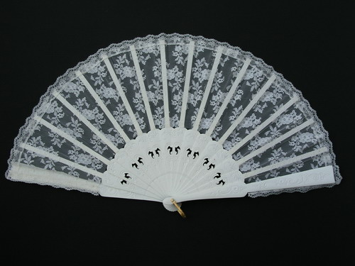 Wood and Silk Lace Fan for Bride