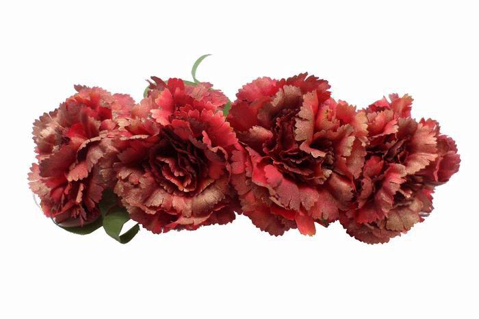 4 Red Carnation Headdress  with Golden Highlights ref. 24225. 30cm