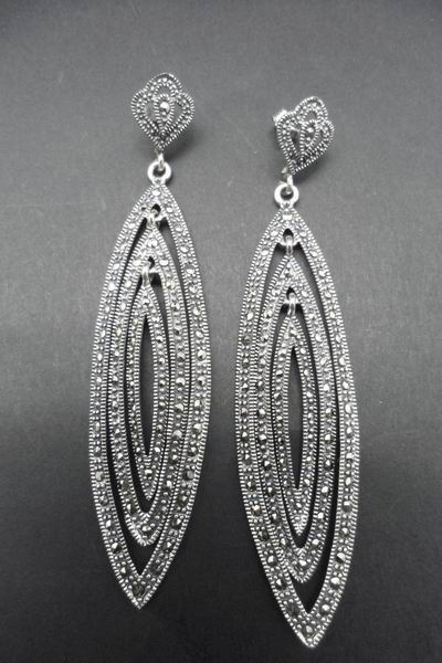 Silver and Marcasite Stones Earrings in Shape of Triple Ogival. 8cm