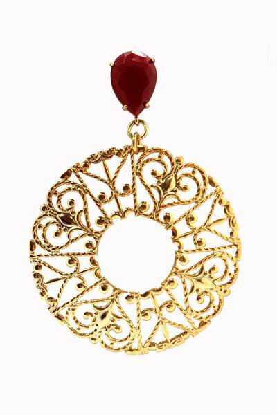 Filigree Gold Hoop Earrings with a Red Stone