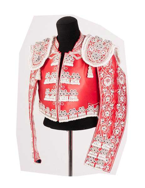 Authentic bullfighter costume. Red and Silver