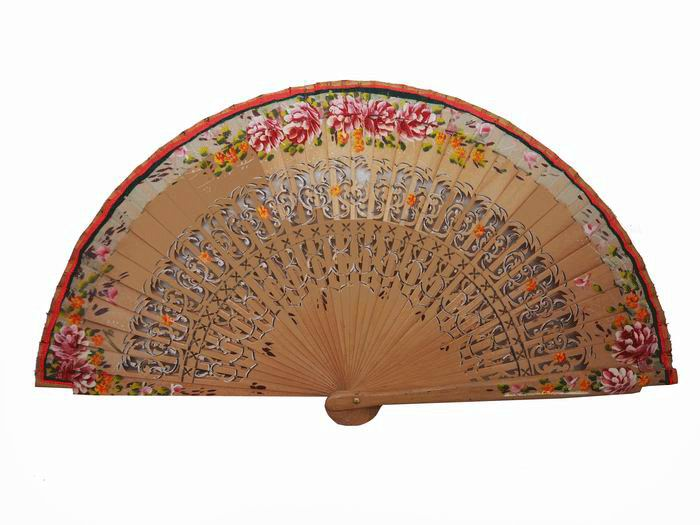 Beige Fan with Fretwork and Hand-painted Flowers in both sides