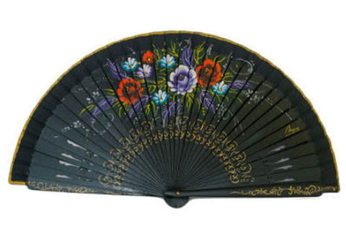 Openwork Black Fan with floral design on both sides Ref. 1141