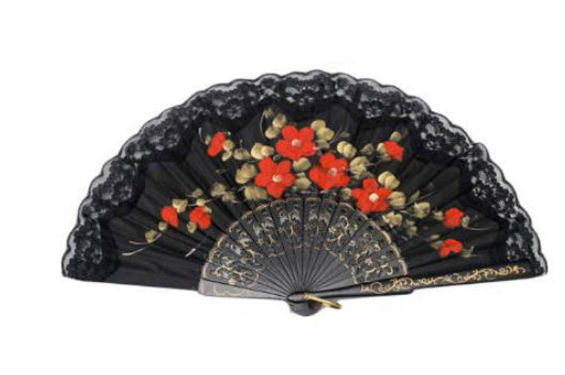 Economical Black Fan with Lace and Painted Flowers