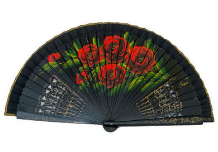 Openwork Black Fan with floral design on both sides Ref. 1135