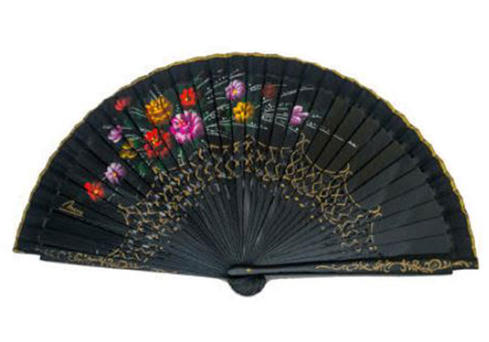 Openwork Black Fan with floral design on both sides Ref. 1133