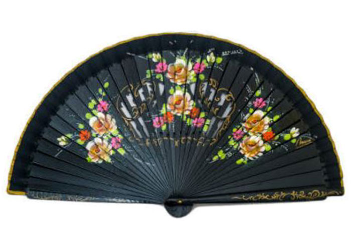 Openwork Black Fan with floral design on both sides Ref. 1145