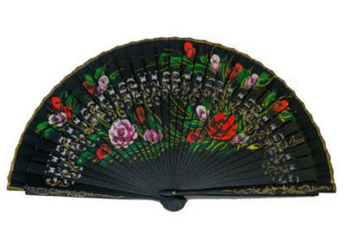 Openwork Black Fan with floral design on both sides Ref. 1123