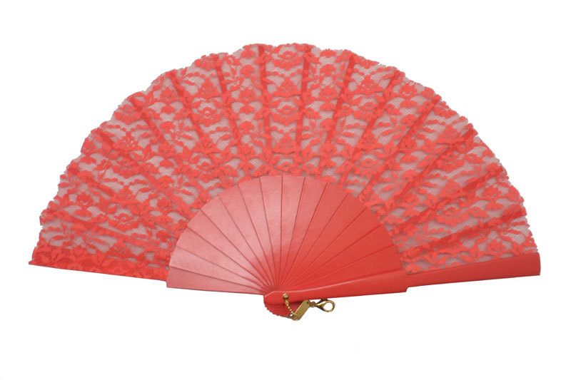 Coral Lace Ceremony Fan