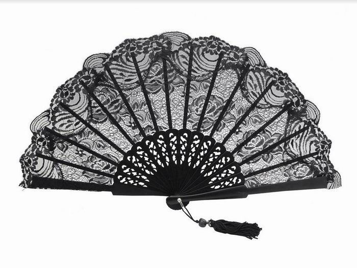 Black Lace Maid of Honor Fan. Ref. 1325