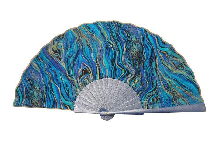 Spanish hand-painted Fan in Purple, Black and Golden Tones