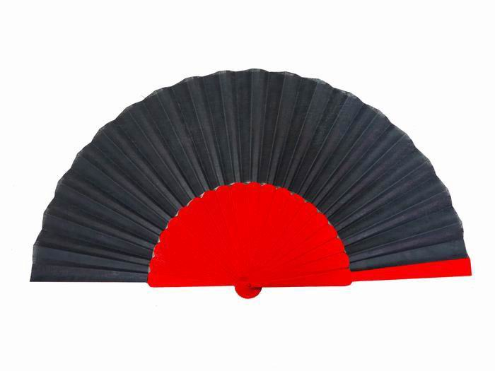 Pericon Fan Black Fabric and Red Ribs. 60cm X 32cm