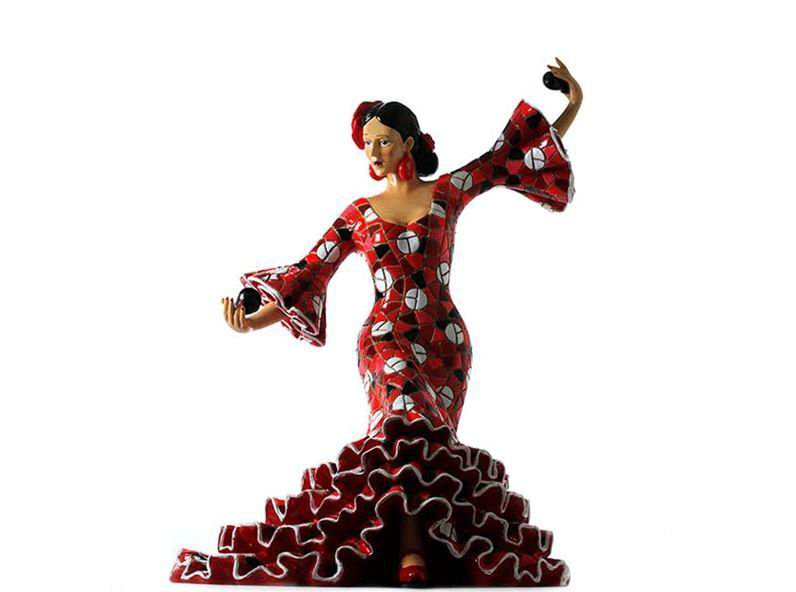 Flamenco Dancer Playing the Castanets in a Red with White Polka Dots Dress 20.5cm