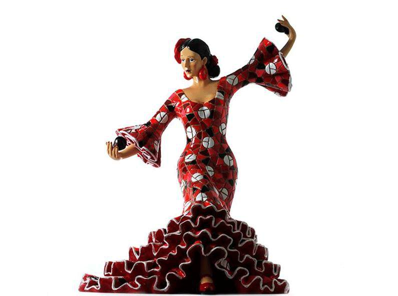 Flamenco Dancer Playing the Castanets in a Red with White Polka Dots Dress 28cm